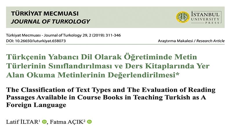 Türkçenin Yabancı Dil Olarak Öğretiminde Metin Türlerinin Sınıflandırılması